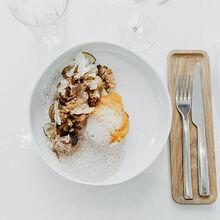 Cabillaud demi-sel, chou-fleur braisé à l'orange, air de noisette Recette proposée par Beatriz Gonzalez